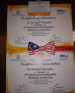 Dr Rosado Certificate and bowtie